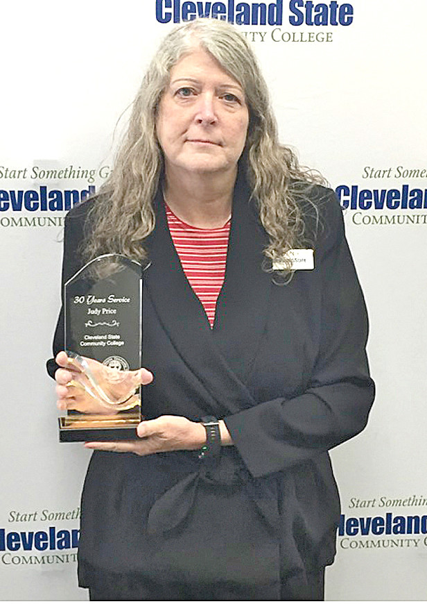 Judy Price was honored with a 30-year service award from Cleveland State Community College.
