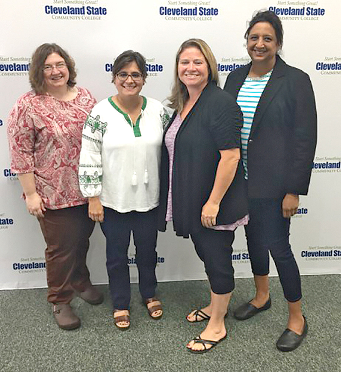 Four CSCC employees were recommended and approved to receive tenure from the Tennessee Board of Regents. From left are Jenny Eble, Rebecca Riggs, Candace Patterson and Maureen Baksh-Griffin.