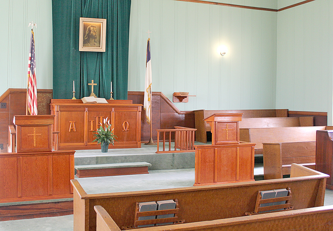 THIS IS THE PULPIT area of Charleston's Cumberland Presbyterian Church.  The church was founded in 1860 by the Rev. Hiram Douglass, and served its congregation until a more modern facility was constructed in 1982 on Highway 11 in South Charleston.