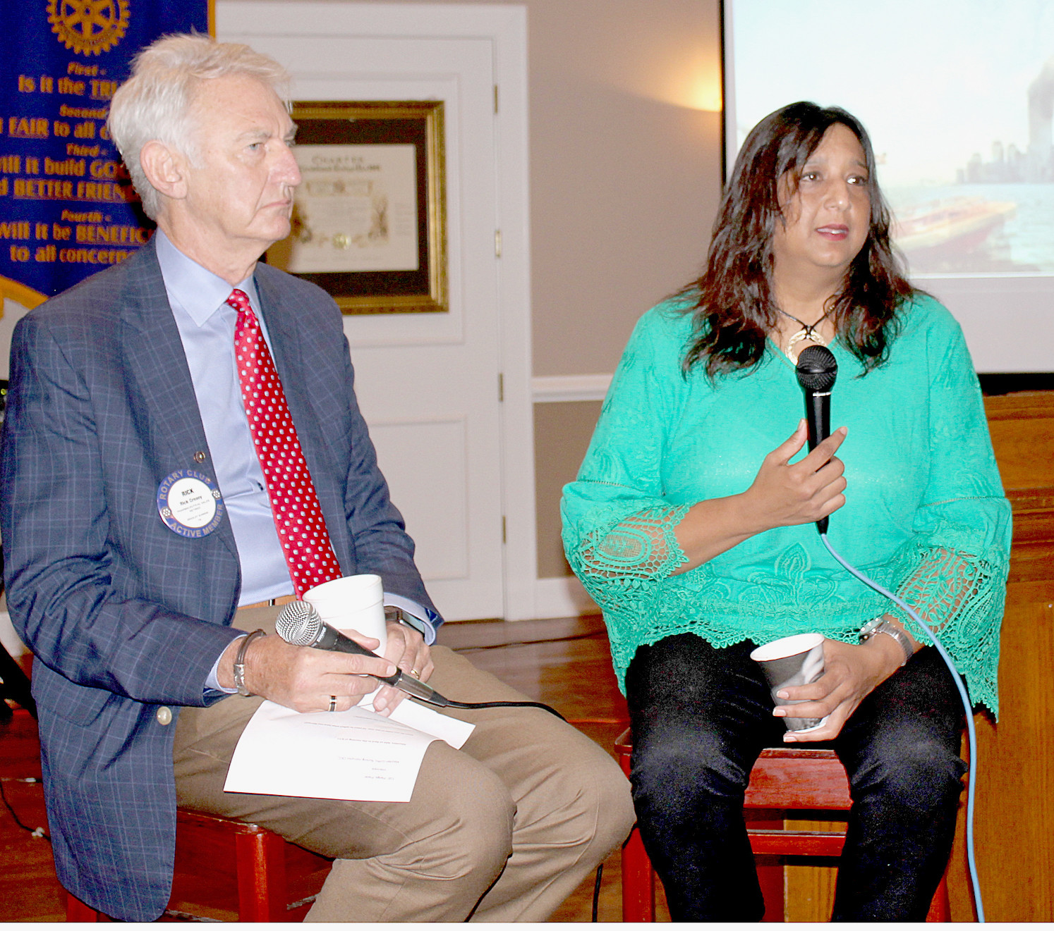 MAUREEN BAKSH-GRIFFIN, right, shares her recollection of 9/11 during a question-and-answer session with Bradley Sunrise Rotary Club President Rick Creasy. Her brother, Michael S. Baksh, died in the attacks on the World Trade Center towers on Sept. 11, 2001.