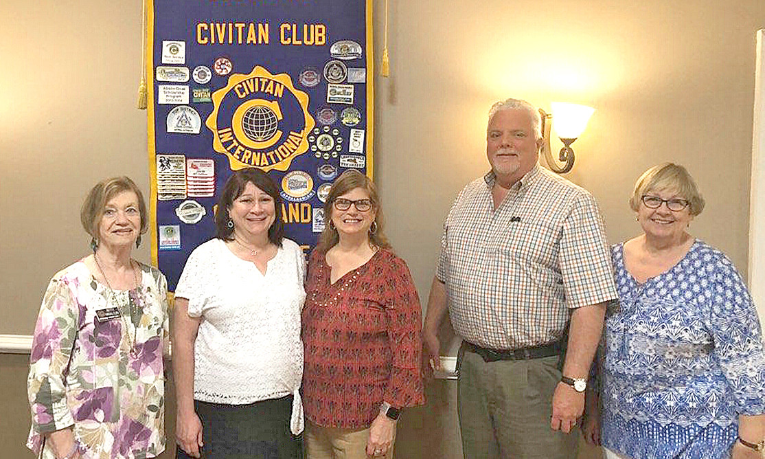 Family Resource Agency Inc., Family Violence Program employees Angie Benefield and Catherine Rice spoke to the Cleveland Civitan Club on Sept. 4.  The mission of the Family Violence Program is to provide a safe place for individuals and their children who are survivors of domestic  and/or sexual violence.  They help survivors gain access to and utilize the tools to empower them to move forward.  The program is sponsoring a Family Fun Festival on Oct. 6, 10 a.m. to 4 p.m. at Greenway Park. This fundraiser will benefit the Harbor Safe House and the Family Violence Program.  From left are Betty Harelson, Benefield, Rice, Lindsey Hathcock and Nancy Marruco.