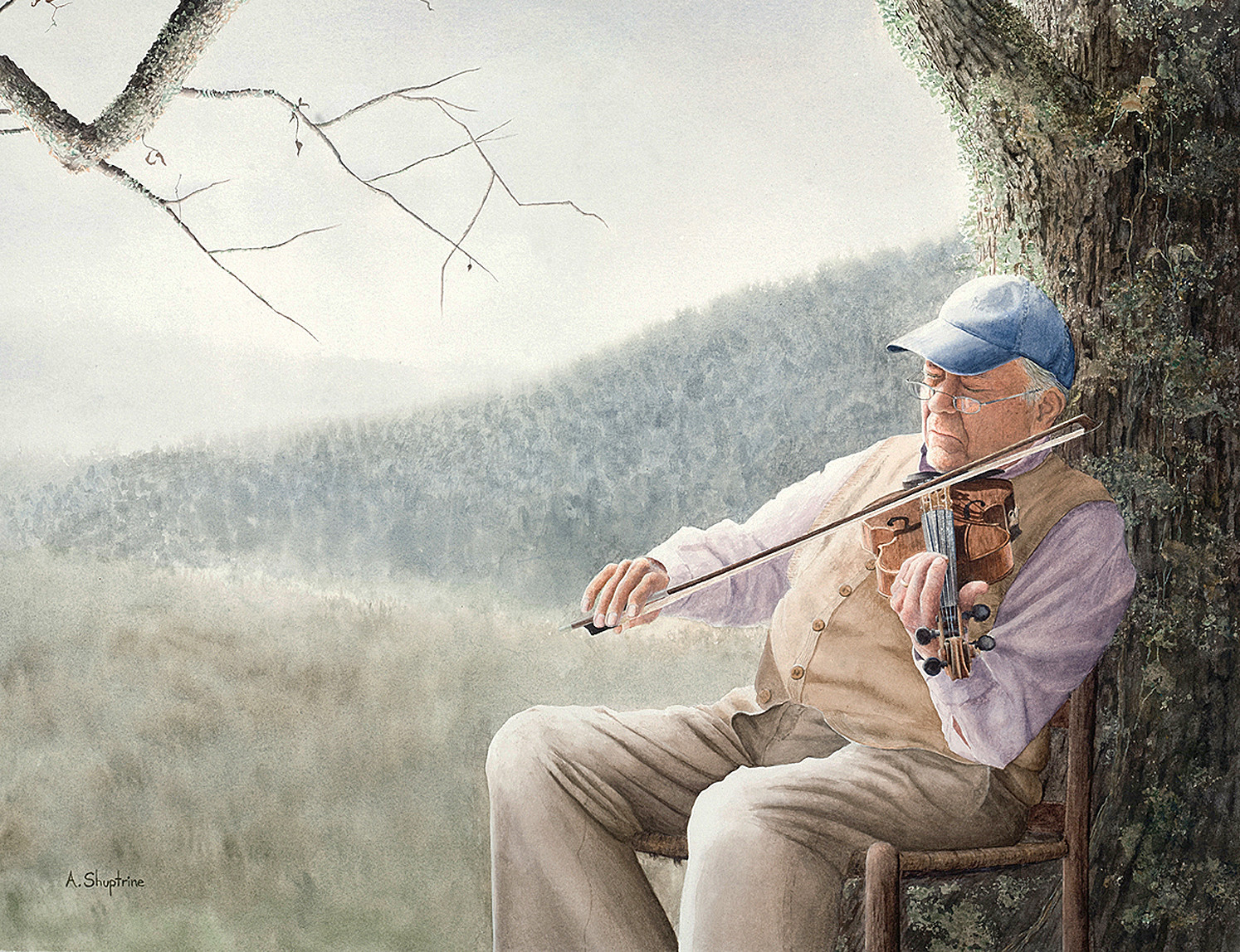ONE OF ALAN SHUPTRINE'S paintings features an elderly man playing a fiddle. This is the perfect example of the traditions of the Appalachian people's ancestors who left their mark on their descendants. Various traditions are continued, such as traditional music, quilt making and whiskey production.