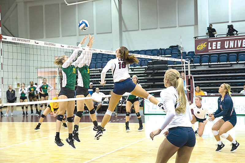 LEE'S Alex Reuter (18) had 10 kills and two aces to start Lee off on a winning note in GSC play.