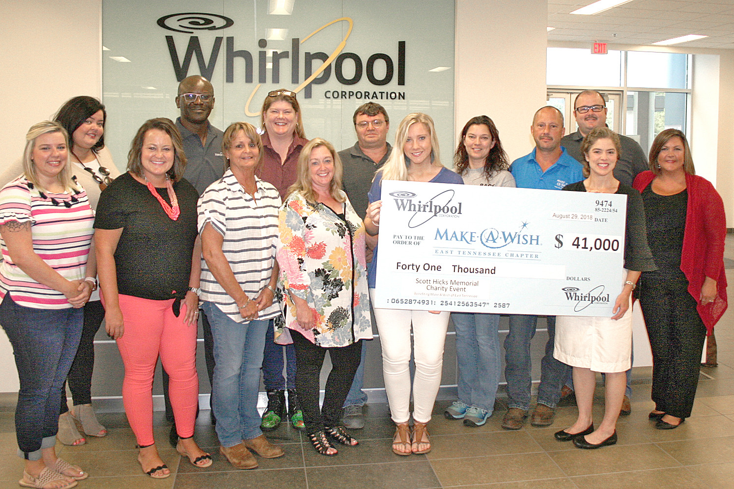 A CHECK is presented to Make-A-Wish of East Tennessee by Whirlpool's staff. The check was for $41,000, and will go back into helping Make-A-Wish fulfill wishes for local kids with life-threatening illnesses. Fundraising will start up again following the commencement of the new year in 2019.
