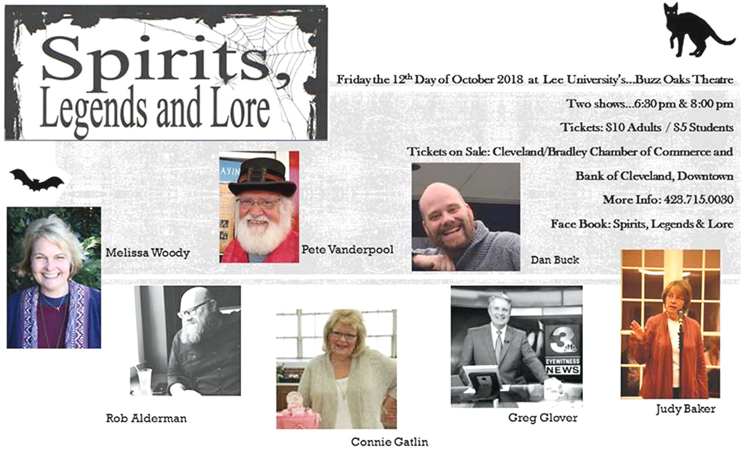 HAUNTED TALES AND GOOD fun are to be had at the Spirits, Legends and Lore event on Friday, Oct. 12 at the Lee University's Buzz Oaks Theatre. Join in on the spooky fun to get in the Halloween spirit.