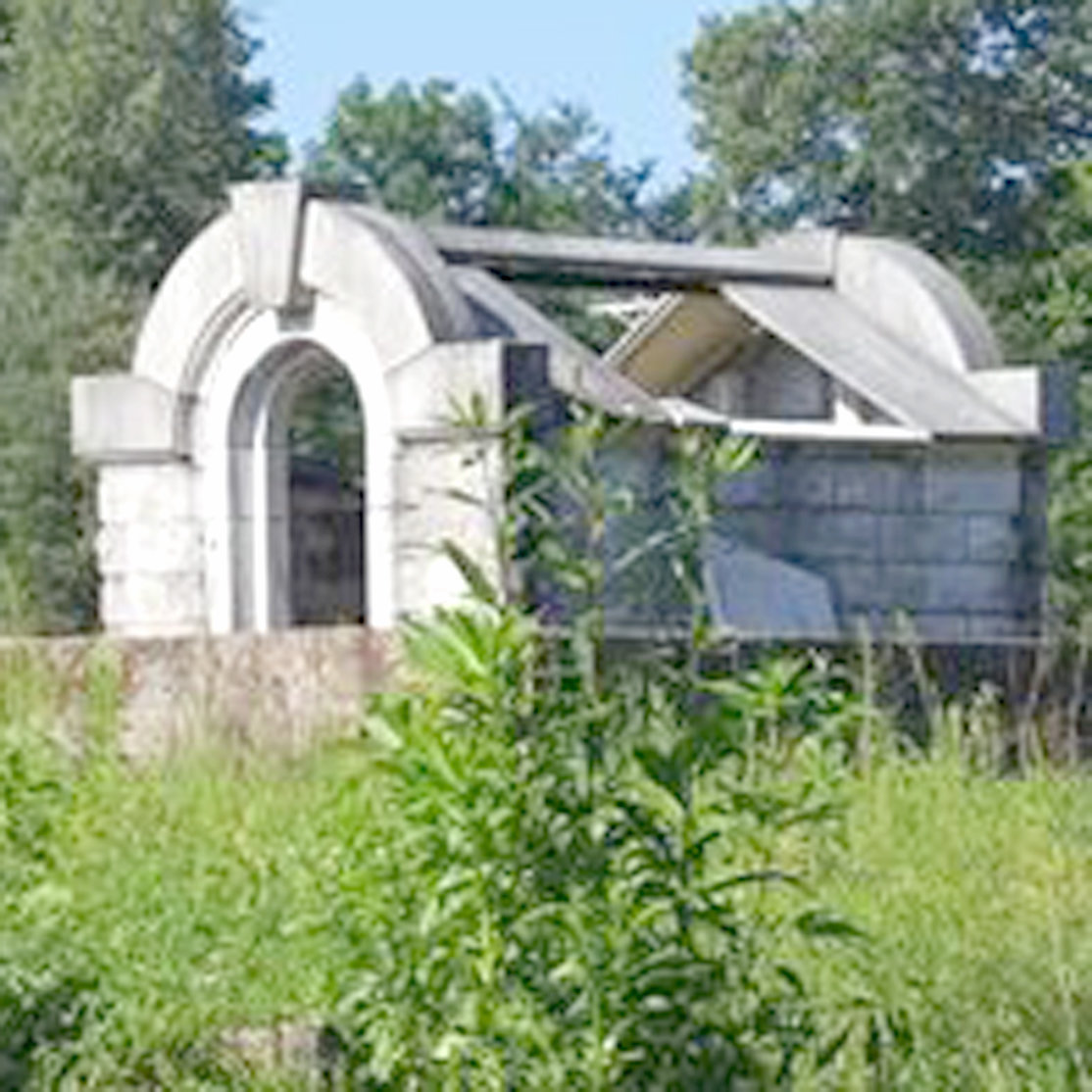 On the road from Etowah to Tellico Plains sits this mausoleum, which was built by Eliza Leonard for her late husband following his death. Within the mausoleum was not only Dr. Leonard's coffin, but also Eliza's, which came with a glass top that she would climb into and pose as a corpse for visitors.