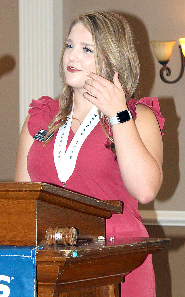 TENNESSEE'S 2019 DISTINGUISHED Young Woman, Madison Dochety of  Tullahoma, was a visitor to a recenty Cleveland Kiwanis Club luncheon. She will represent the state at the national program in June 2019, in Mobile, Ala.