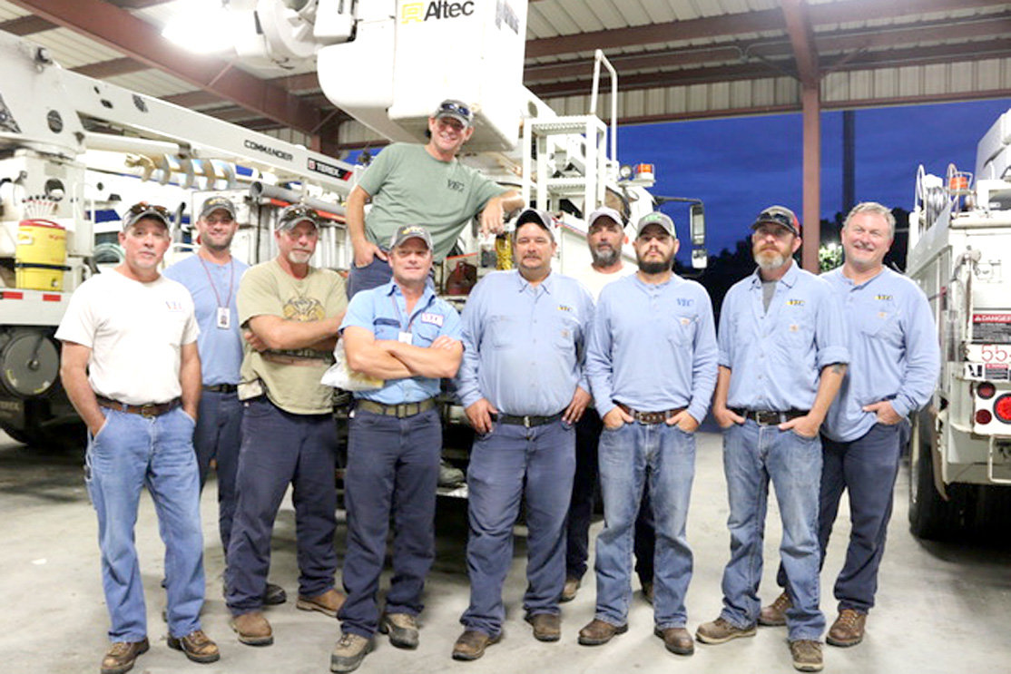 TEN VOLUNTEER  Energy Electric Cooperative lineman left at 7 a.m. Thursday, headed to Dudley, Ga., to assist Oconee EMC. The linemen are from six different VEC service areas, including Benton, Cleveland, Decatur, Crossville, Monterey and Jamestown.