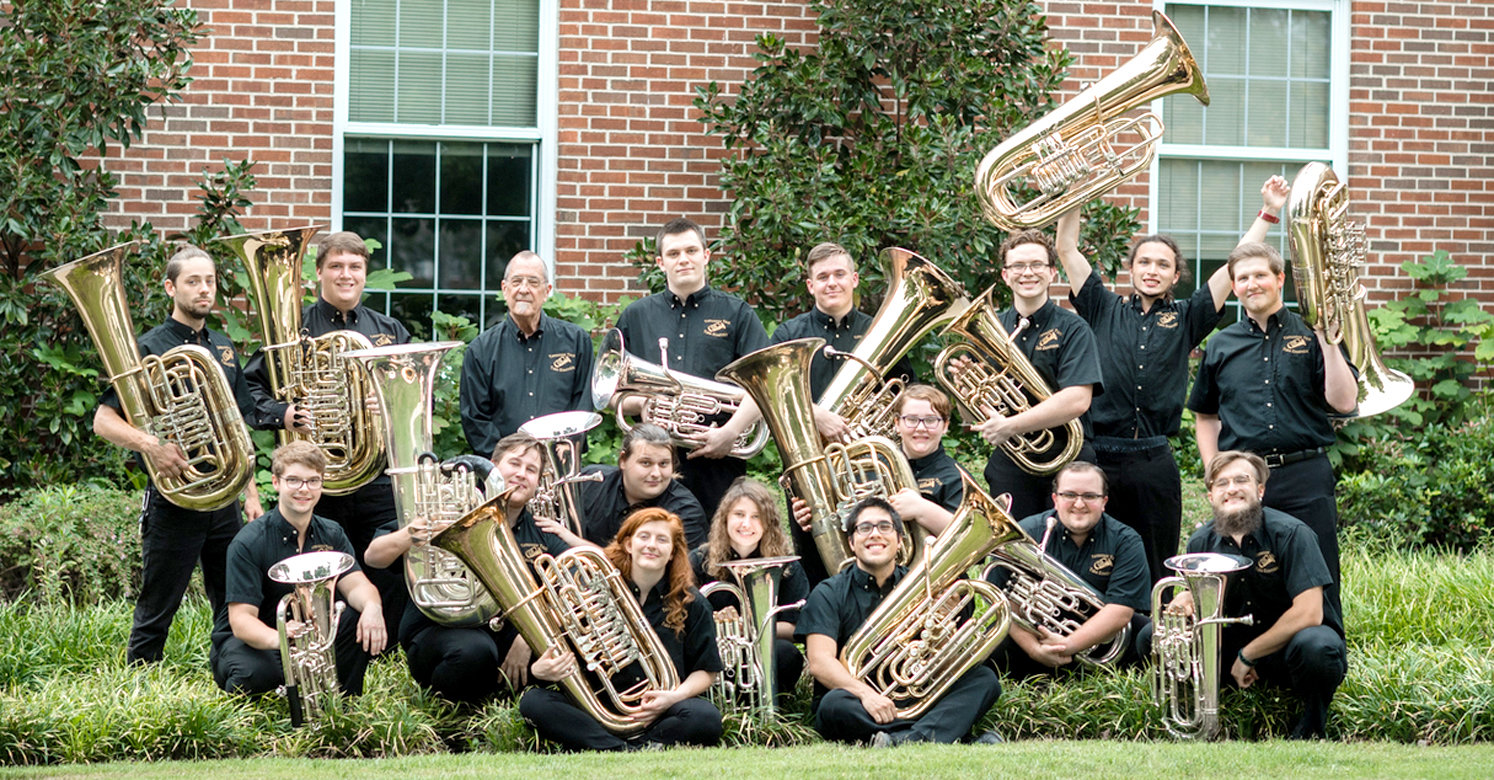"The Tennessee Tech Tuba Ensemble will be presenting ""Octubafest"" on Wednesday, Oct. 24. Members of the 2018-19 ensemble include (bottom row, from left) Tyler Ricks, Lebanon; Sean Bond, Nashville; Hannah Eitzen, Hixson; Jonathan Ownby, Cleveland; Lena Marsh, Morristown; Dan Davis, San José, California; Mara Wilks, Mountain City; Josh Whited, Hendersonville; and Taylor Winkler, Brentwood, as well as (top row, from left) Michael Barton, Crossville; Jonah Hammontree, Knoxville; Professor R. Winston Morris, Director; Guy Bortz, Kingsport; Devin Rains, Murfreesboro; Riley Davis, Dunlap; Tom Ryan, San Diego, California; and Zach Davis, Cleveland. The internationally acclaimed Tennessee Tech Tuba Ensemble will present its annual fall Octubafest performance at 7:30 p.m. in Wattenbarger Auditorium in the Bryan Fine Arts Building of TTU, in Cookeville. The ensemble, which is currently celebrating its 52nd season, is documented as the most recorded ensemble of its kind in the world. Octubafest 2018 will feature the music of one of Tennessee Tech's best-known composition students from 1975, Señor Aldo Rafael Forte, an internationally renowned composer."