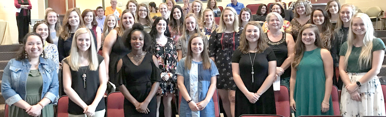 The Lee University chapter of Kappa Delta Pi recently held an induction ceremony for 30 new members. The new members are Selena Abel, Elizabeth Bare, Judith Bell, Callie Brainerd, Ashley Capehart, Sydnee Cobb, Erin Cooper, Sydney Crumley, Rebecca Doss, Allyson Fadel, Kristi Farley, Megan Flora, Caroline Freiling, Julius Garrod, Jessica Gilbert, Madison Hodges, Abigail Lawrence, Heather Manno, Keri Mayfield, Sarah McIntosh, Brynnan Miller, Elise Petersheim, Elizabeth Queen, Micaela Ruiz-Moreno, Madeline Schultz, Emily Smith, Heather Snow, Ella Wheeler, Kaley Wingo and Rachael Wood.