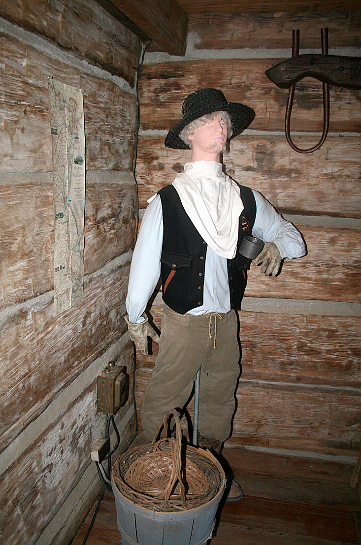 THE INTERIORS of the cabins at the Village at Hawk Creek are decorated with materials that would have been found in the 19th century, such as this miner.