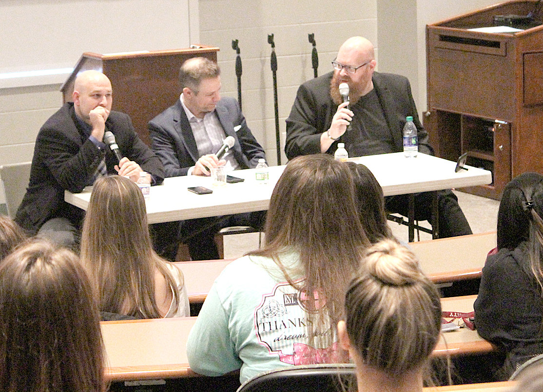 LEE COLLEGE DORM FIRE survivors (from left) Dave Webb, Jason Hopkins and Rob Alderman discuss their experiences when a fire set by arsonists destroyed Ellis Hall – a dorm they resided in while attending what was then Lee College in 1993.
