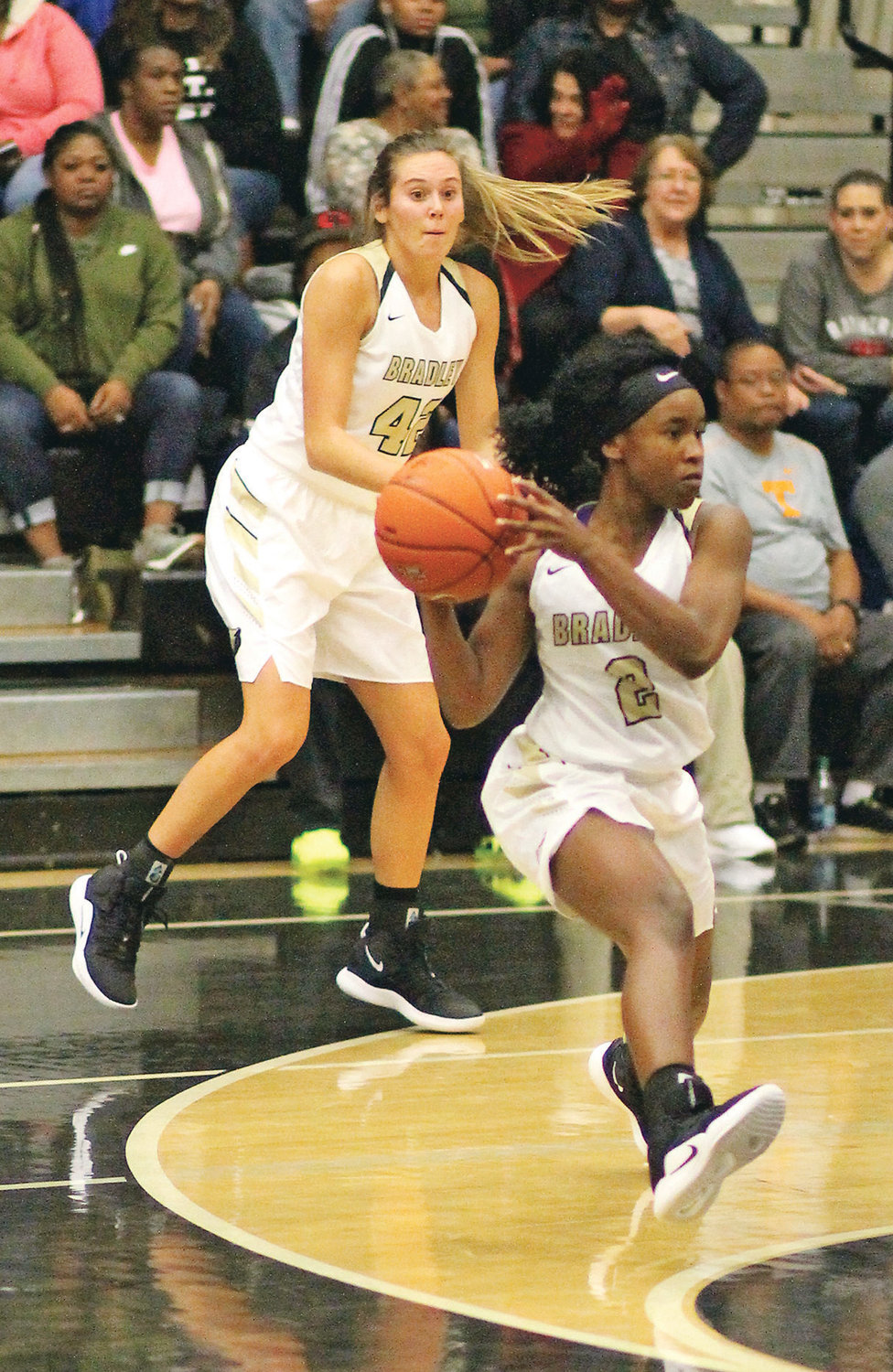 BRADLEY CENTRAL sophomore Jamia Williams (2) provided a much-needed spark off the bench, while junior Anna Walker (42) led the Bearette offense with 14 points in a 59-30 victory over fellow 2018 TSSAA Final Four participant Baylor, Tuesday evening at Jim Smiddy Arena.