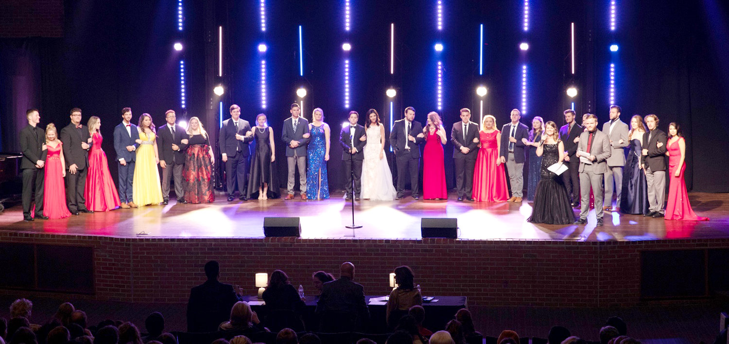 2018 Contestants and escorts for the Miss Parade of Favorites competition at Lee University are shown.