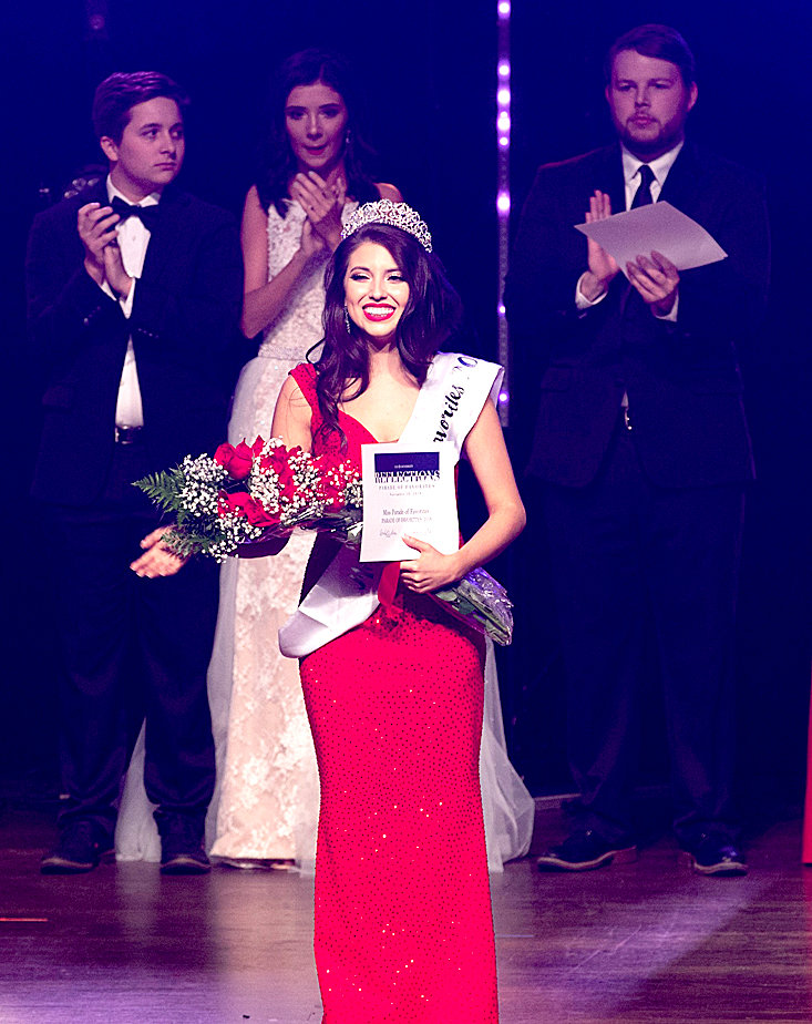 Brittney Perez was crowned Lee University Miss Parade of Favorites 2018. The 13 contestants, representing groups and clubs from across Lee's campus, are shown with their escorts.