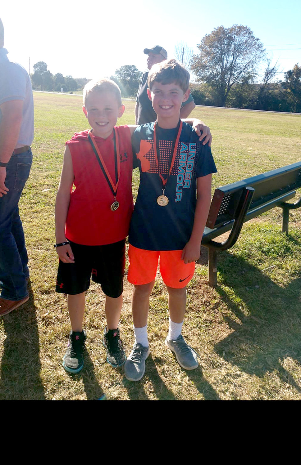Eli Eslinger and Kane Cooley tied as first-place winners in the Black Fox Fall 5K Run, organized and led by coach Kara Gibson. Both Eslinger and Cooley finished the run in a record time of 26 minutes, 11 seconds.