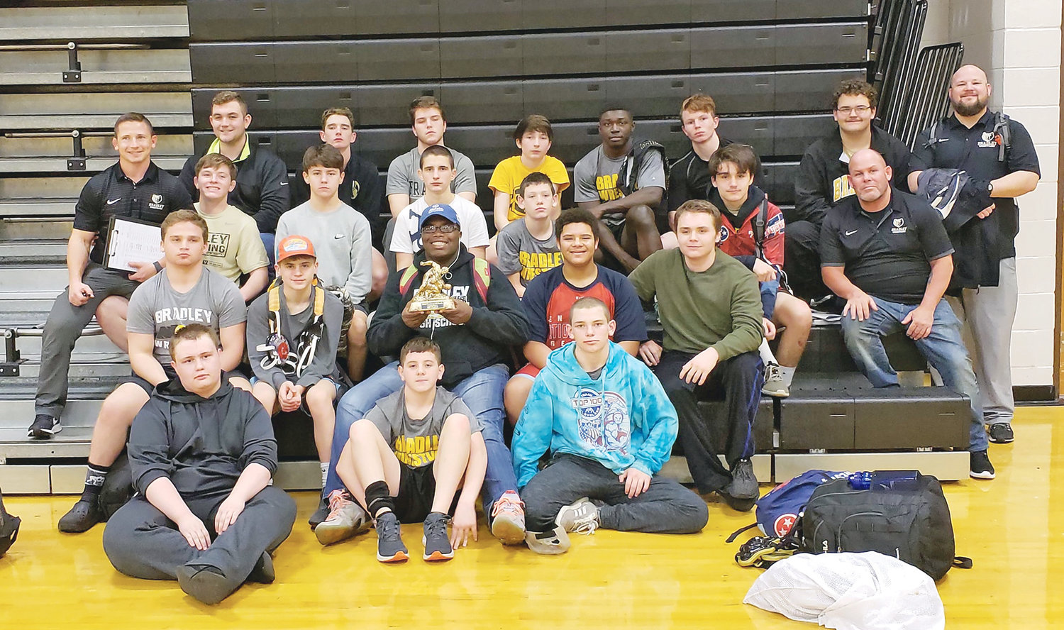 BRADLEY CENTRAL sent its junior varsity wrestling team to Hixson on Saturday for the Vandergriff Duals and the team came home with the championship trophy, defeating five varsity squads in the process.