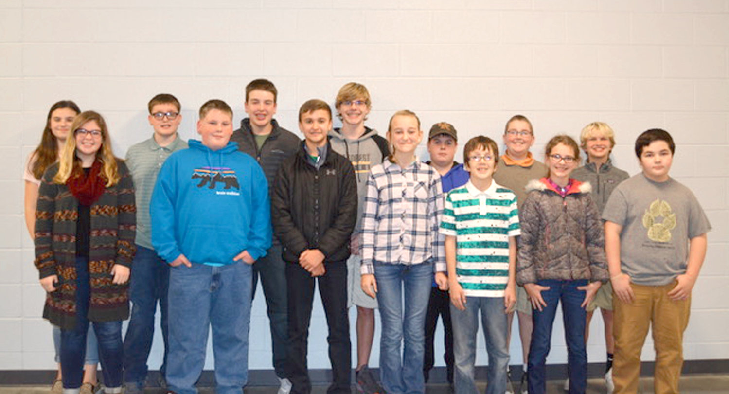 Several students were recognized for showing outstanding character to students, faculty and staff at Lake Forest Middle School, for September and October. In the front row, from left, are Addison Clark, Hoss Brewer, Joans Rayfield, Naomi Van Otterloo, Trivett Hedrick, Hailey Huff and Zander Graham. In back are Lauren Hall, Wyatt Williams, Nicholas Geren, Cameron Hardwick, Ayden Simmons, Matthew Rogers, and Hank Adams.