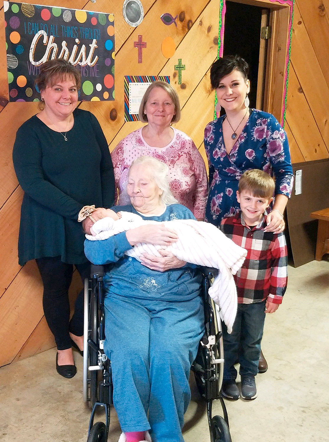 Five generations of the Wooden family gathered on Thanksgiving Day at Bradley Healthcare and Rehabilitation. Seated are Myrtle Wooden, great-great-grandmother, holding baby Scarlet Stephens. From left standing are Tammy Lombardi, grandmother, Judy Parker, great-grandmother, and Myranda Stephens, mom, with Kylan Cooper.
