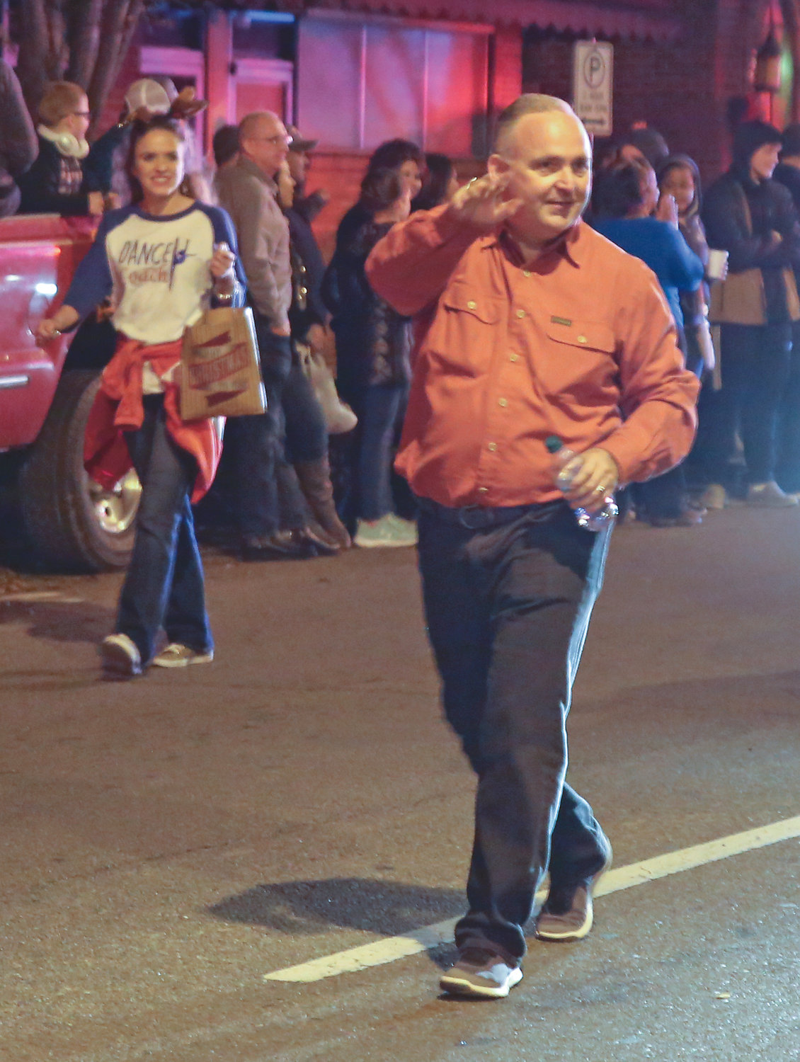 MAYOR KEVIN BROOKS walks down Broad Street for the first time as mayor during the MainStreet Christmas Parade.