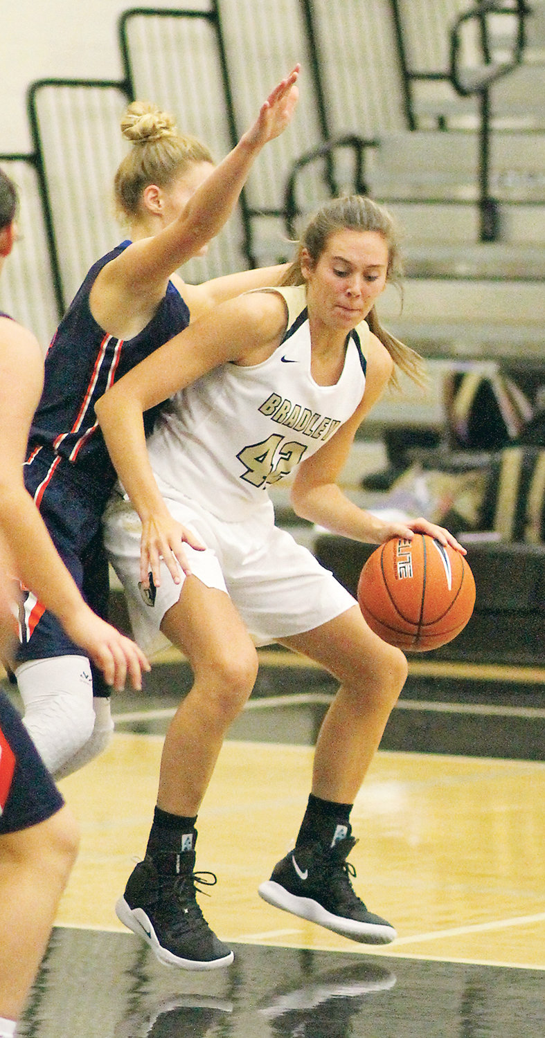BRADLEY CENTRAL junior Anna Walker (42) had another double-double Saturday, but the Bearettes suffered their first regular season loss in 73 games, falling to reigning Georgia state champion Westlake at the Queens of the Hardwood showcase in Fayetteville, Ga.