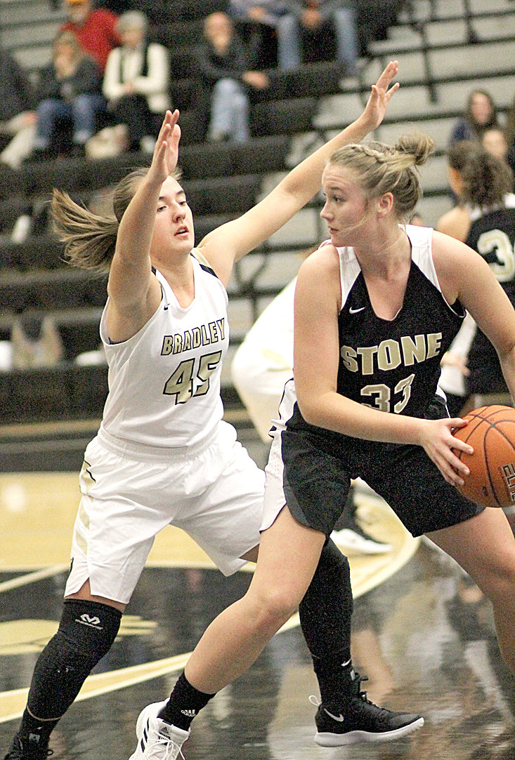 BRADLEY CENTRAL senior Hannah Lombard (45) will help the fifth-ranked Bearettes battle in the second annual East/West Classic this weekend, against a pair of strong Memphis area teams.