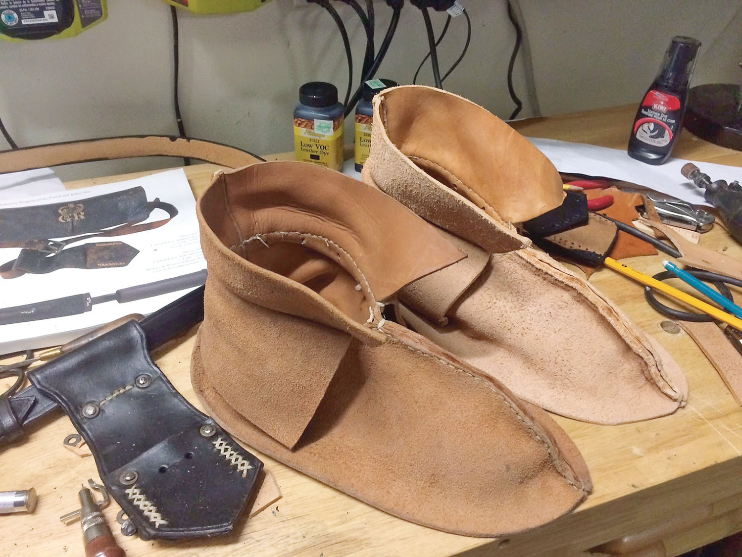 LEARN HOW TO CRAFT your own moccasins and hunting/bullet bags from leather, from longtime leather artist Dave Adams at the historic Ramsey House. The class, which includes materials and detailed instructions, is only $20.