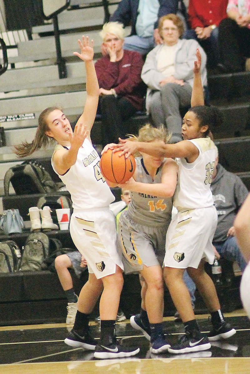 "BRADLEY CENTRAL teammates Hannah Lombard (45) and Jamaryn Blair (33) are two keys to the tenacious Bearette defense that Walker Valley will face Friday evening in ""The Stable."""