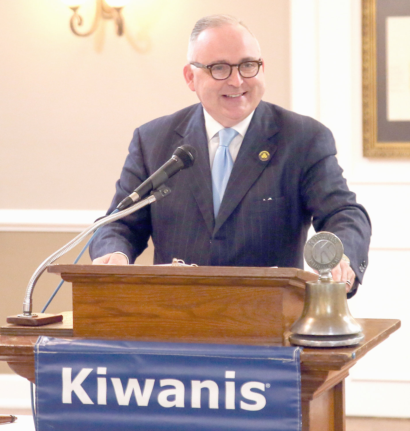 CLEVELAND MAYOR KEVIN BROOKS shares a laugh with his Kiwanis Club listeners while delivering his first State of the City address during the civic club's weekly luncheon at the downtown Elks Lodge. The new mayor touched on a variety of subjects including economic development, public safety, downtown revitalization, redevelopment of the old Whirlpool manufacturing site, education and infrastructure, among many others.