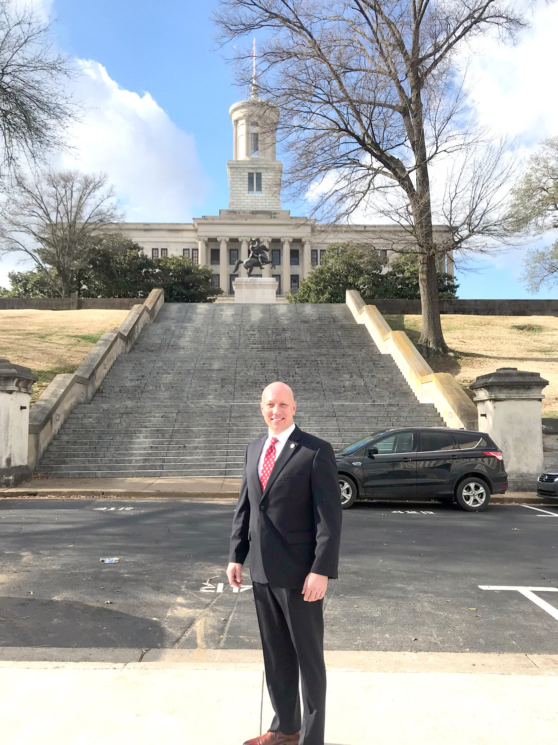 STATE REP. MARK HALL stands outside the Tennessee State Capitol before entering the building for his swearing in as a freshman member of the Tennessee House of Representatives last week in Nashville. Hall was elected in November and replaces Kevin Brooks, who now serves as Cleveland mayor.