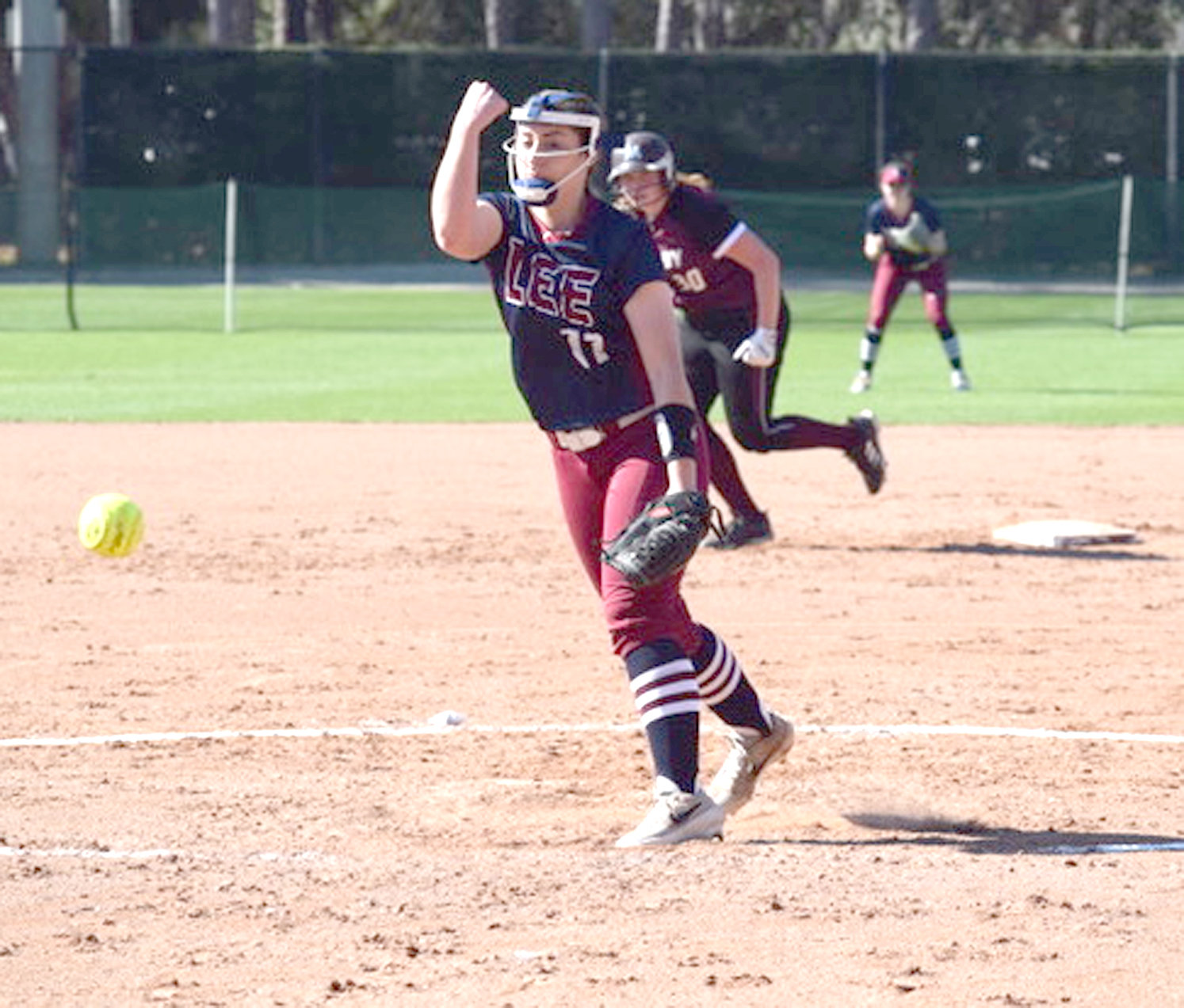 LEE UNIVERSITY freshman Taylor De Adder pitched the Lady Flames to an 8-1 victory in game one against Molloy Friday in Clearwater, Fla.,