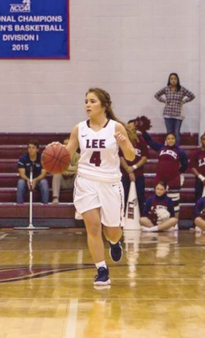 LEE'S Jenna Scoggins scored a career-best 21 points in Saturday's win over West Alabama.