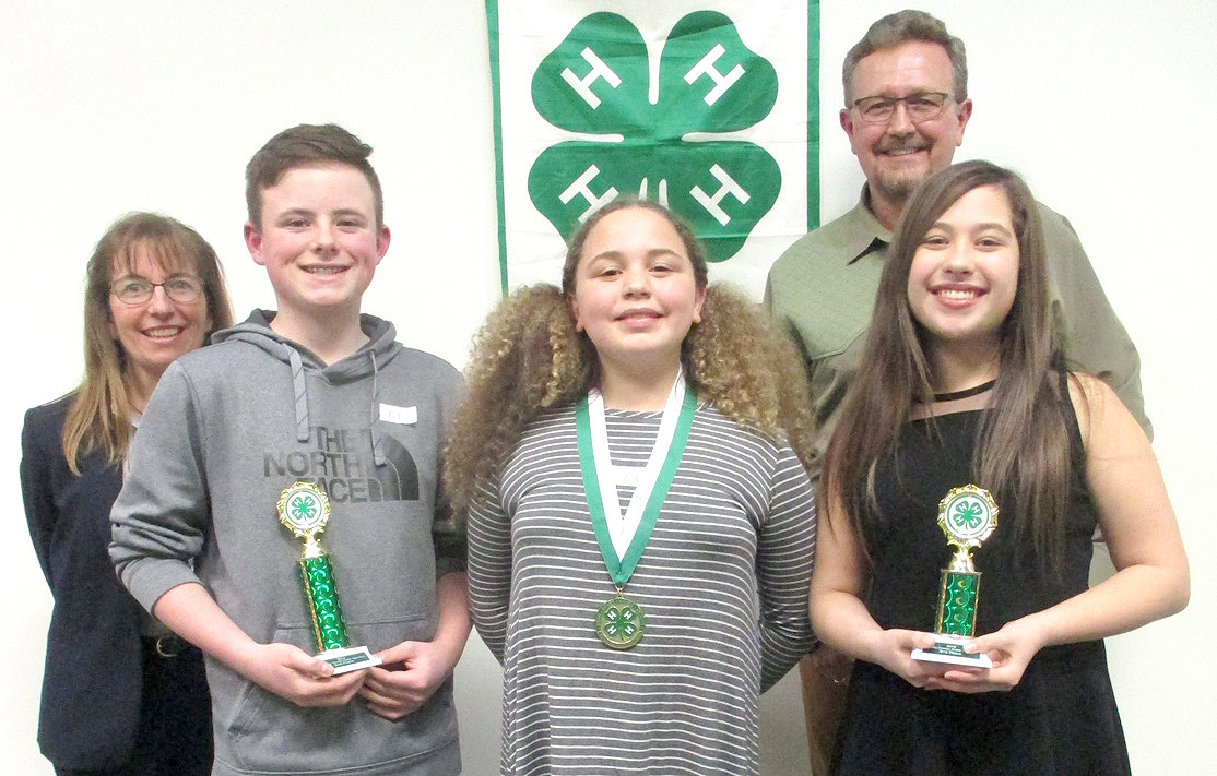 The Bradley County 4-H Public Speaking seventh-grade winners were, from left, Steven Wallace, second place (Ocoee Middle School); Zhyrina Acebedo, first place (Ocoee Middle School) and Bella Guyton, third place (Ocoee Middle School) with judges Pamela Hobbs, 4-H volunteer, and Blake Peterson, Kiwanis Club of Cleveland member. First-place winners will advance to the Southeastern Corner Speech Contest March 14 in Rhea County.