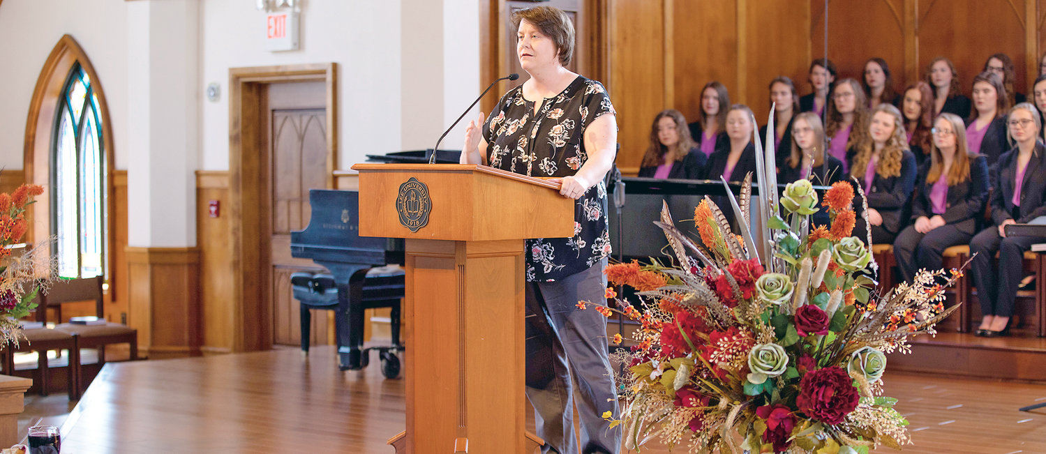 DR. CATHERINE MANTOOTH kicked off Lee University's observance Tuesday of International Women's Week in a presentation at the campus chapel.