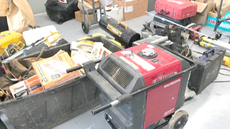 THis photo, provided by the Bradley County Sheriff's Office, show some of the items stolen from construction sites throughout the region. Joshua Burdin, 32, and Mark Brewer, 50, both of Cleveland, were arrested and charged in the thefts.