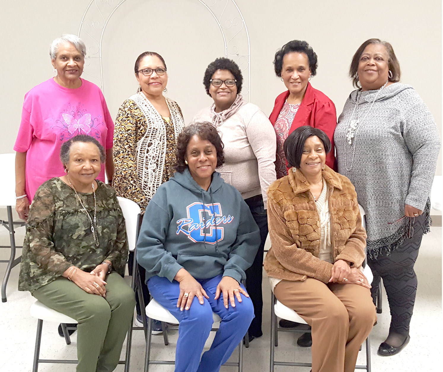The Aldersgate Garden Club held its February meeting at the Pleasant Grove Baptist Church.  Those in attendance were, from left seated,   Charlotte Timberlake, Edwina Robinson, and Cynthia Humes;  standing,  Billie Blair, Kay Cox, Joan Steward, Lelia Johnson and Jackie Westfield.