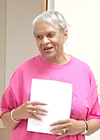 Billie Blair, hostess, presents a program on Gardening with Youth at the February meeting of the Aldersgate Garden Club.