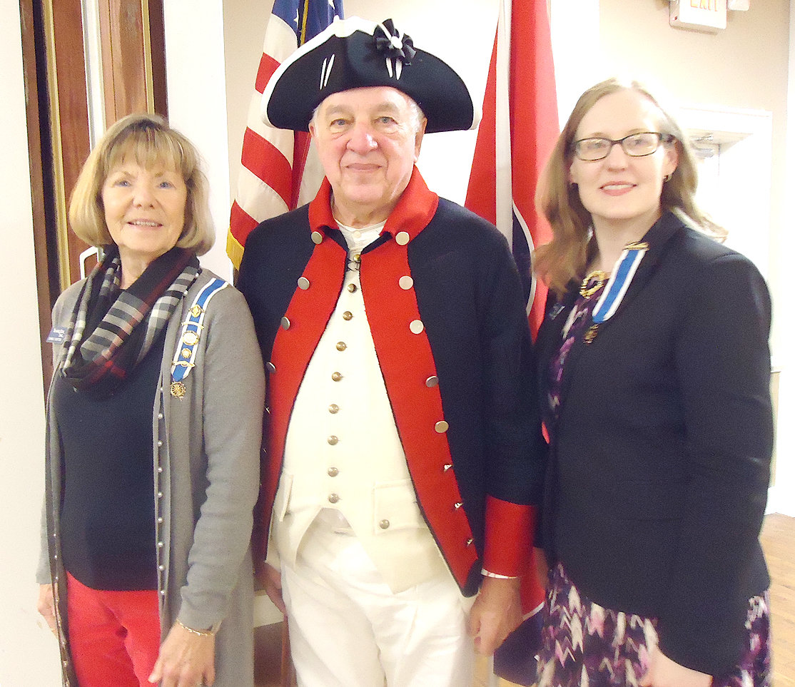 From left are  Ocoee Chapter DAR Vice Regent Joanne Swafford, guest speaker Robert George, and Regent Leigh Ann Boyd.