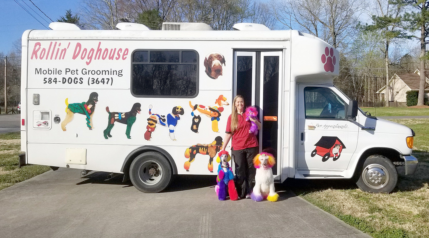 CINDY OLIVER, a local creative grooming stylist for dogs, is an accomplished groomer, having run her mobile dog grooming business, the Rollin' Dog House, for 15 years.