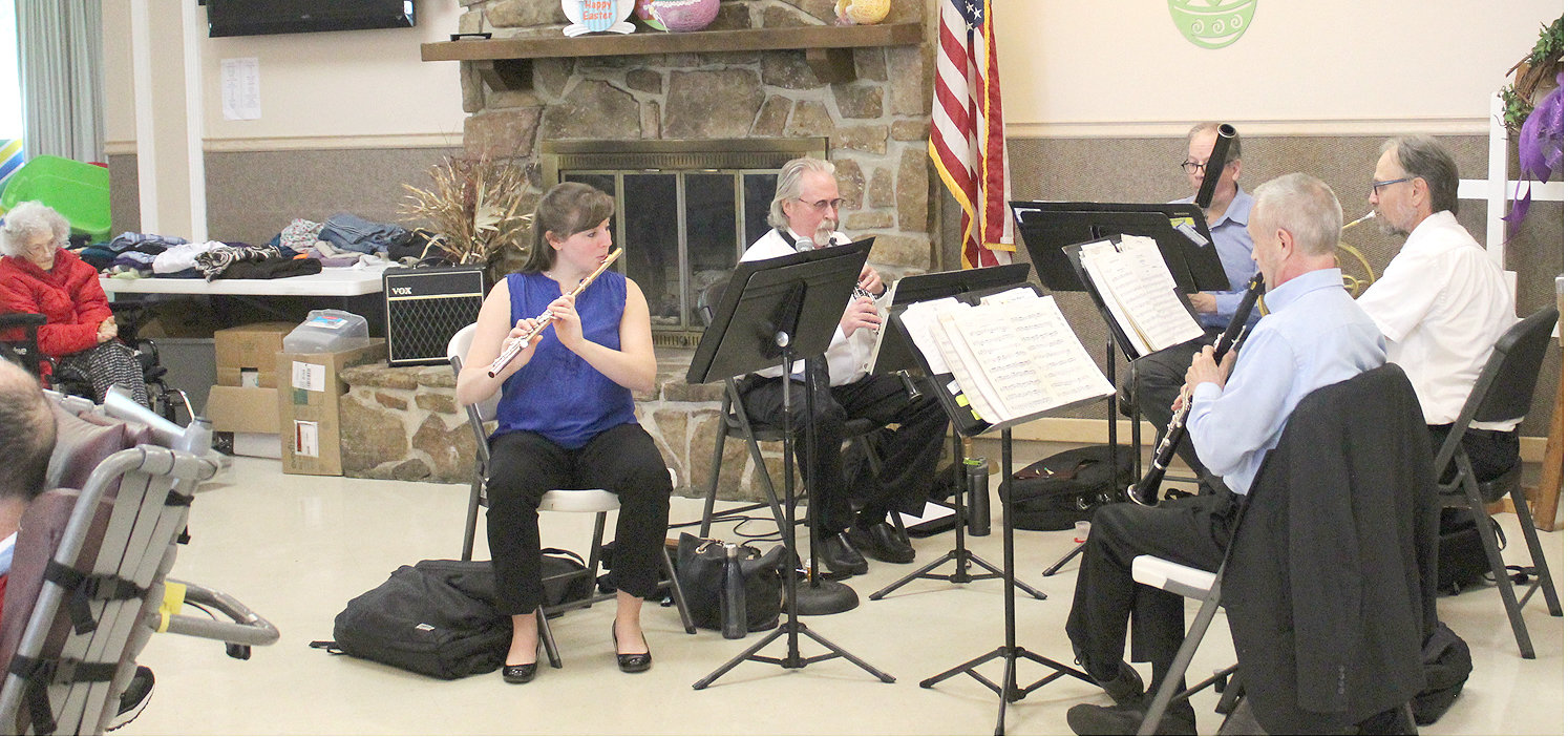MEMBERS of the Chattanooga Symphony & Opera Wind Quintet perform for residents at Bradley County Healthcare and Rehab Center last week. Members of the quintet include Kristin Holritz, flute; Robert Burkes, oboe; Robert West, clarinet; Eric Anderson, bassoon; and Gordon James, French horn.