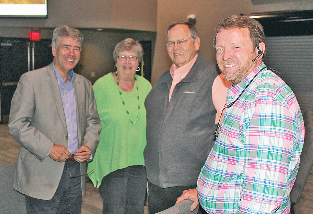 BRADLEY COUNTY Commissioner Bill Winters, left, met with a trio of attendees at Thursday evening's town hall meeting on the new Westmore Church of God campus. With Winters are Nancy Casson, Cleveland businesswoman and community advocate, second from left; Jerry Frazier, longtime educator and former Bradley County school superintendent, second from right; and Troy Weathers, chairman of the Bradley County Board of Education.