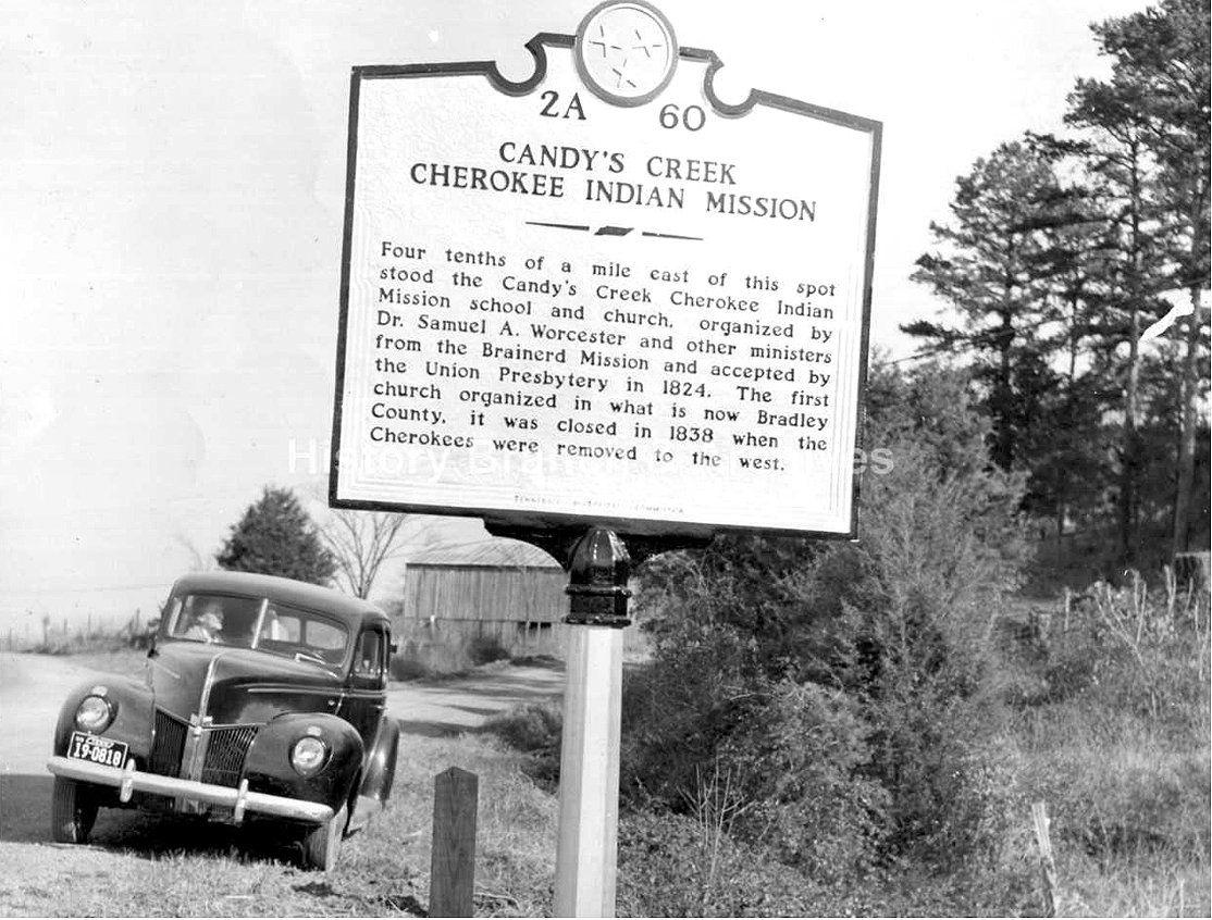 THIS PHOTO shows a marker which used to be along Highway 60 which told the history of the Candy's Creek area.