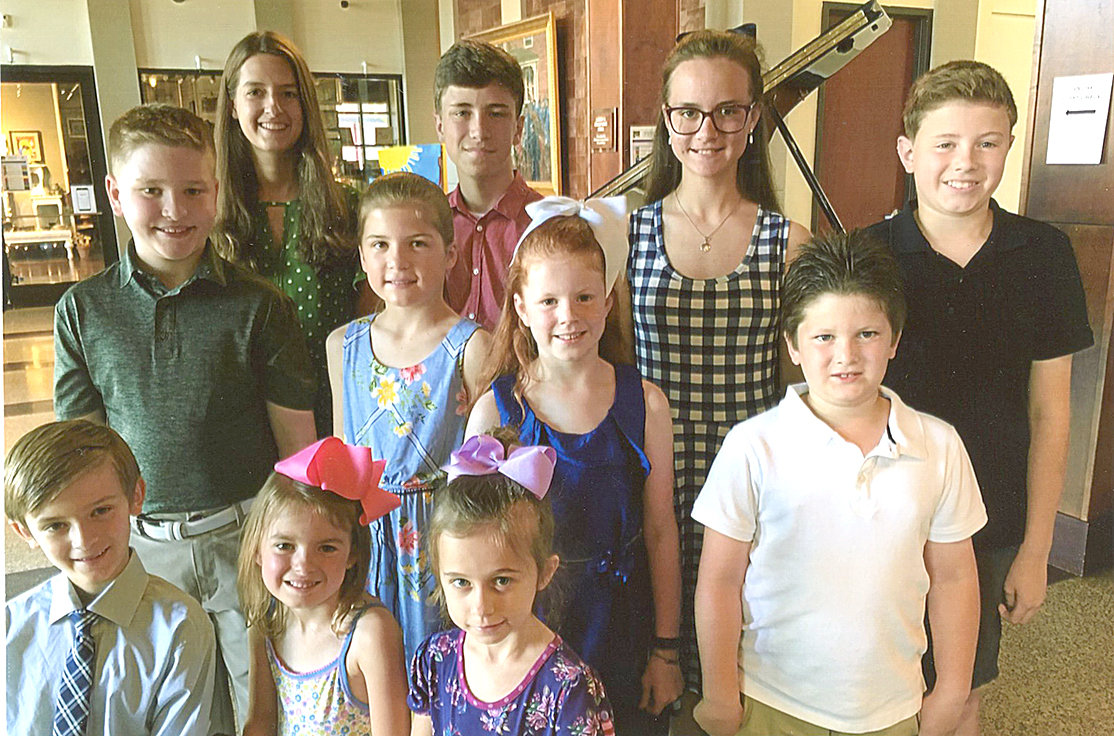 PERFORMERS AT the spring recital of First Cumberland Presbyterian Church's Fine Arts Academy included, from left, front, Corbin Collins, Brynleigh Akins, Brielle Owens, second row, Charlie White, Ava Wenger, Millie Wiseman, Holland Branson, back, Bailey Reams, Austin Hart, Ellie Smith and Reece Bradbury.