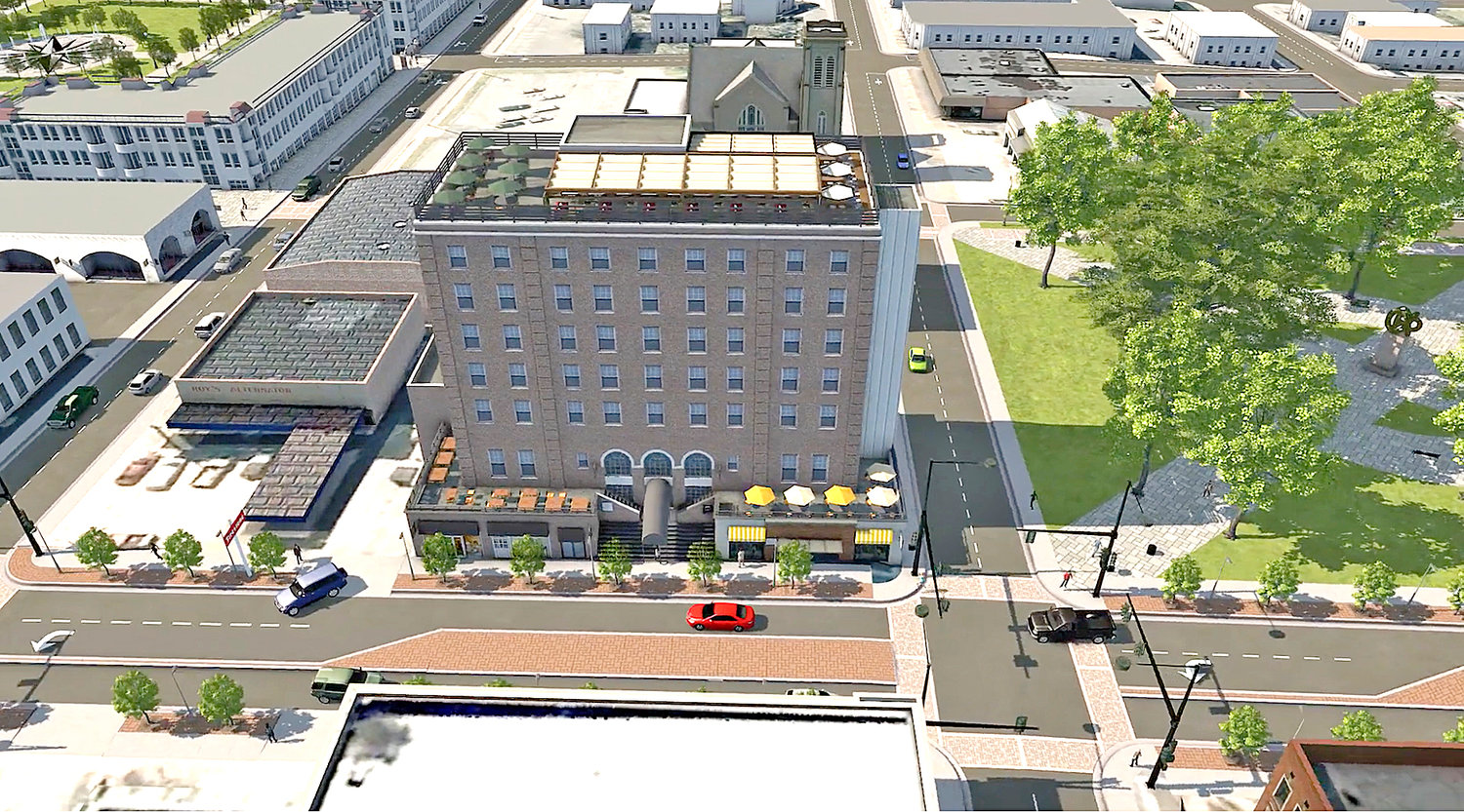 AN ARTIST'S RENDERING shows the transformation of the former Cherokee Hotel in downtown Cleveland. Currently, the location of Cleveland Summit — a low-cost housing facility, the structure will be converted into a 65-room boutique hotel featuring a mix of retail shops on its first floor, as well as an open-air restaurant on its top floor. The initiative is one of three proposed catalyst projects included in the city's recently unveiled Downtown Revitalization Master Plan.