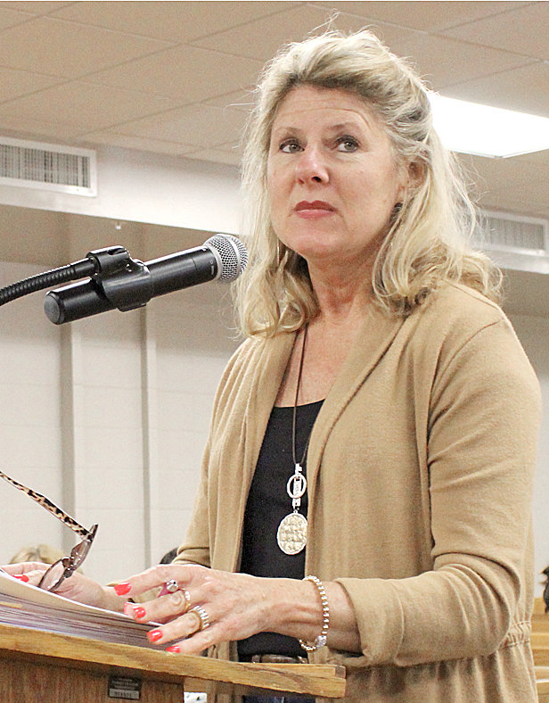 BRADLEY COUNTY Road Superintendent Sandra Knight listens to a question from a commissioner during Monday's Bradley County Commission work session.