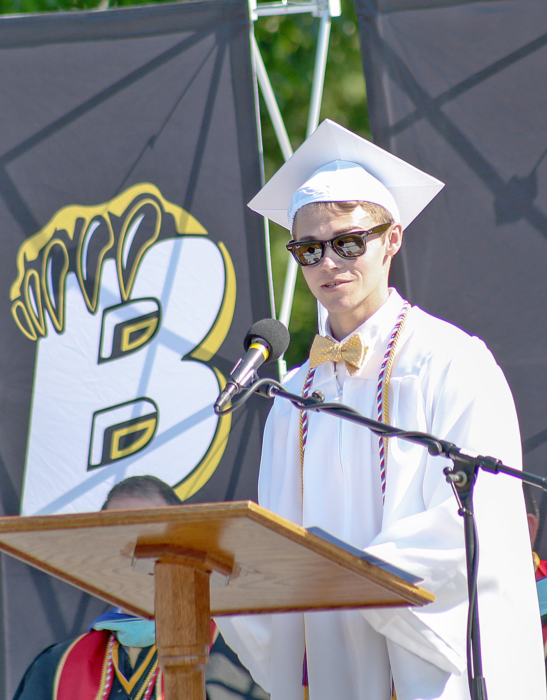 BCHS VALEDICTORIAN JACOB GARRETT delivers his address to the Class of 2019 on Saturday.