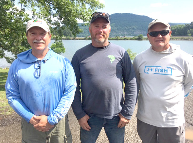 The winners were, from left; first place, Dewayne Lowe; second place and big fish, Roger Graham jr.; and third place, Scott Jones.