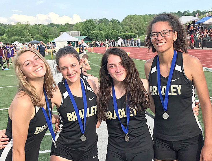 BRADLEY CENTRAL foursome, from left, Sara Mullis, Paige White, Abbey Scalise and Zakrya Shannon will run both the 4x100 and 4x200 relays at the TSSAA State Meet Thursday.