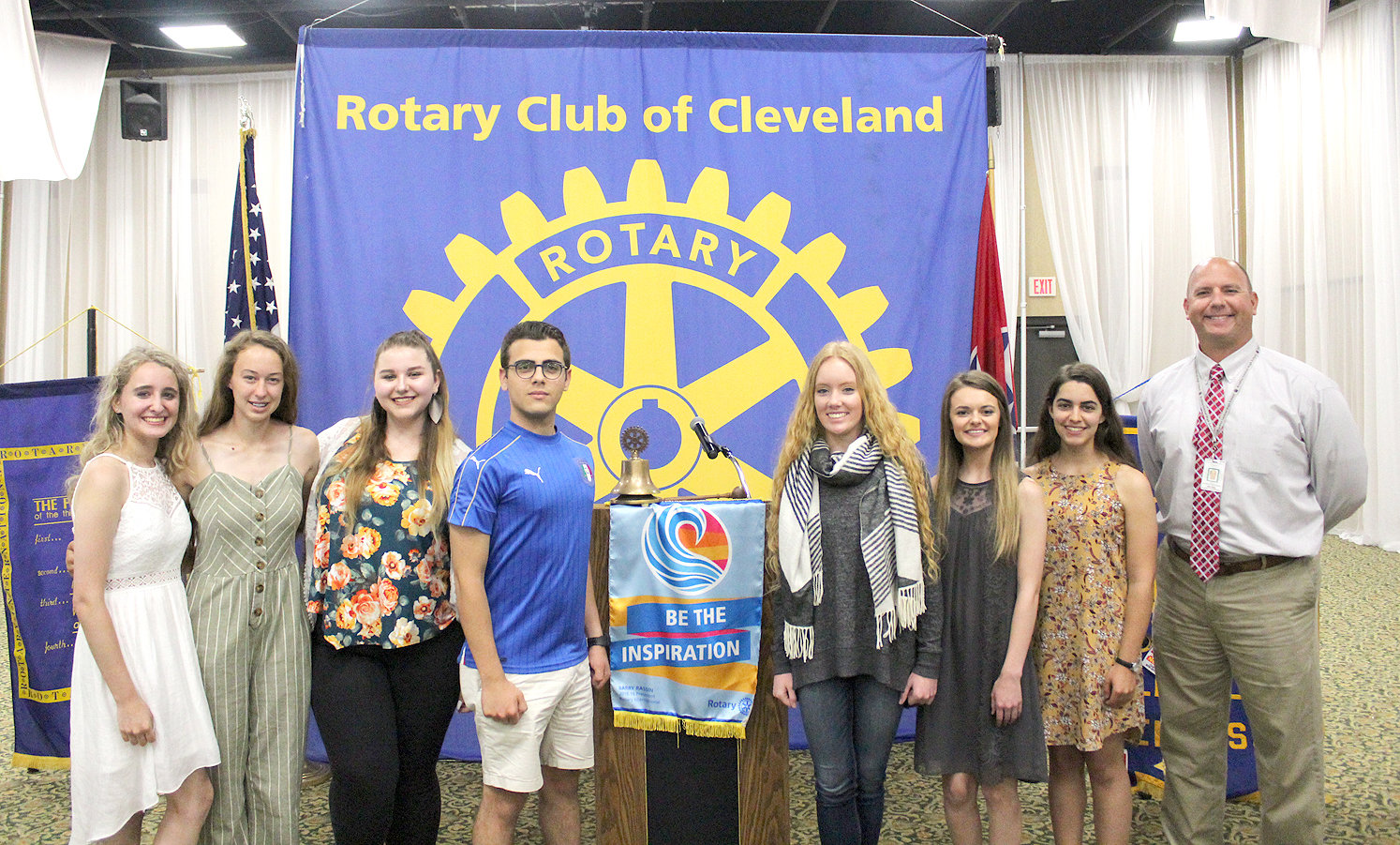BRADLEY CENTRAL high school students participating in the Rotary Club International's Interact program described their volunteer work during a Rotary Club of Cleveland luncheon held Tuesday at the Museum Center.  From left are Alison Cummings, Anna Stouffer, Lacey Smith, Salvatore Ingenito, Brynna Frakes, Payton Sowder, Kate Gwaltney and faculty sponsor Andy McMahan. Ingenito is an exchange student from Sicily, Italy.