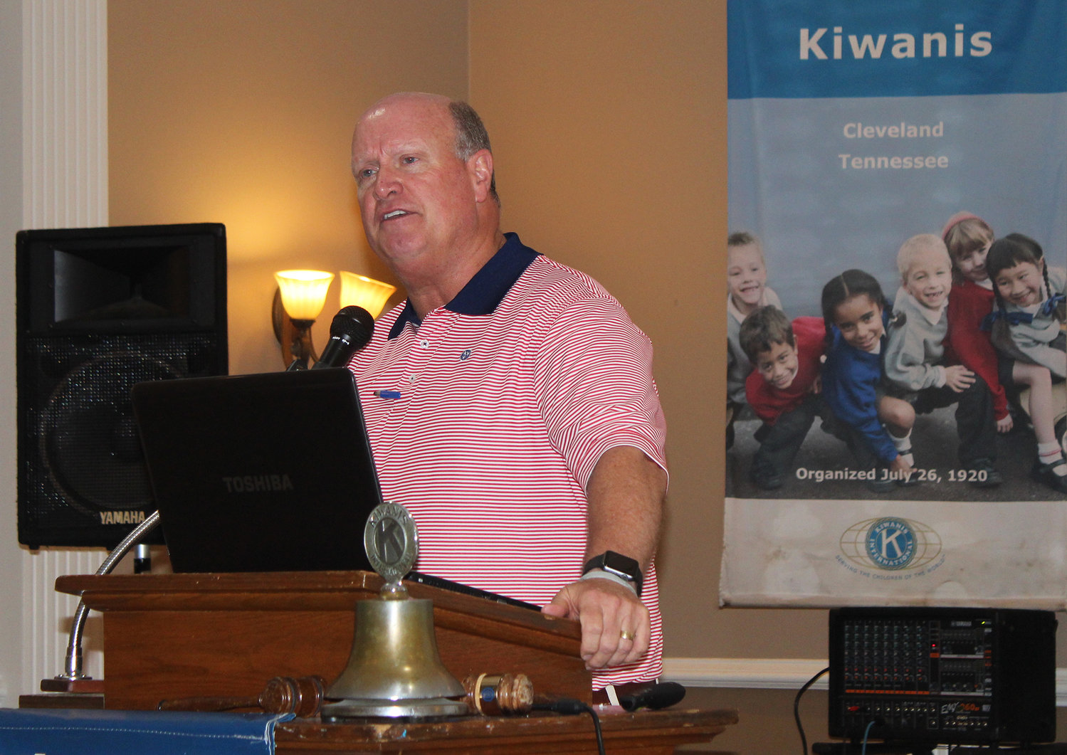 JIM GIBSON, of Cleveland's First Baptist Church, discusses the church's Nepal Ministry, which has been ongoing with mission trips  since 2005. Gibson and Dave Gregory were guest speakers at last week's Cleveland Kiwanis Club luncheon.